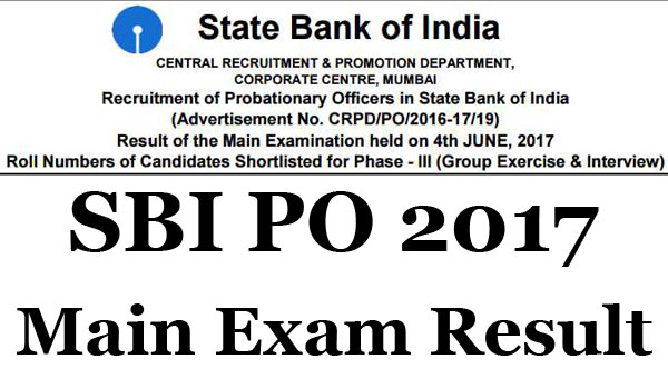 SBI PO Mains Result 2017 declared, check on sbi