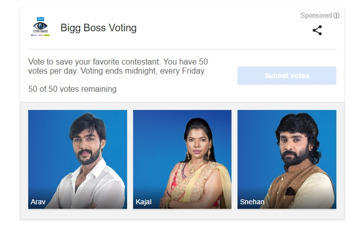 Bigg Boss Vote Week 10 elimination