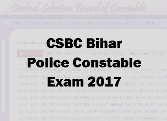 Bihar Police Constable Results 2017 to be out soon at csbc