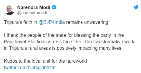 PM wants BJP workers across country to learn from Tripura